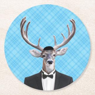 Funny Yarmulke Happy Hanukkah Deer Blue Plaid Round Paper Coaster