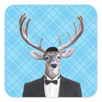 Funny Yarmulke Happy Hanukkah Deer Blue Plaid Square Sticker