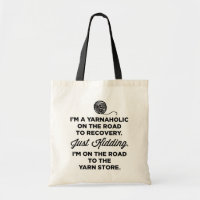 Funny Yarnaholic Tote Bag