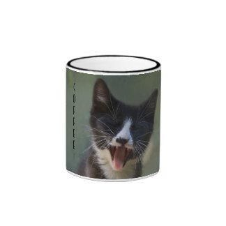 Funny Yawning Black and White Kitten - Need Coffee Ringer Coffee Mug