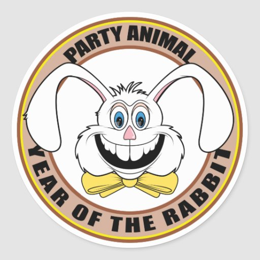 Funny Year of The Rabbit Round Sticker