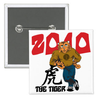Funny Year of The Tiger Pinback Buttons