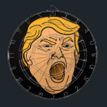 "Funny Yelling Angry Donald Trump Face Dart Board<br><div class=""desc"">Had enough of Trump? Wish he&#39;d lost the election? If so,  then use this dartboard to let out some of your anger and frustration. It features a cartoon-style drawing of Trump&#39;s angry,  yelling face against a black background. To change the color of the background,  click on the &quot;Customize&quot; button.</div>"