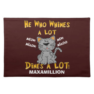 Funny Yellow and Brown Personalized Pet Placemat Cloth Place Mat