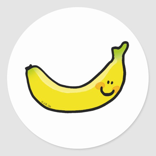 Funny yellow banana classic round sticker