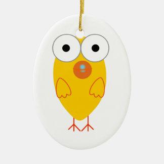 Funny Yellow Bird Ceramic Ornament