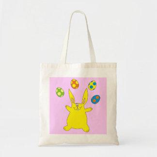 Funny Yellow Bunny Juggling Easter Eggs Kids Bag