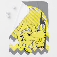 Funny Yellow Chevron Silly Elephant Baby Blanket