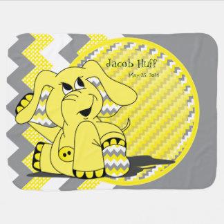 Funny Yellow Chevron Silly Elephant Baby Blanket