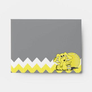Funny Yellow Chevron Silly Elephant Envelope