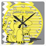Funny Yellow Chevron Silly Elephant Kids Clock