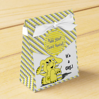 Funny Yellow Chevron Silly Elephant Party FavorBox Favor Box