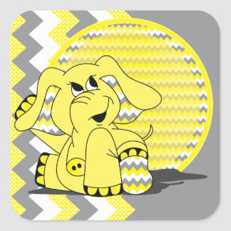 Funny Yellow Chevron Silly Elephant Stickers