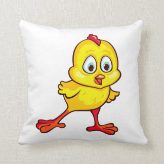 Funny yellow chick throw pillow