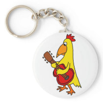 Funny Yellow Chicken Playing Guitar Keychain
