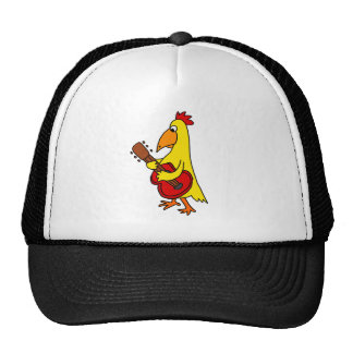 Funny Yellow Chicken Playing Guitar Trucker Hat