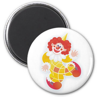 funny yellow clown 2 inch round magnet