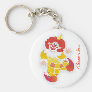 funny yellow clown with your name basic round button keychain