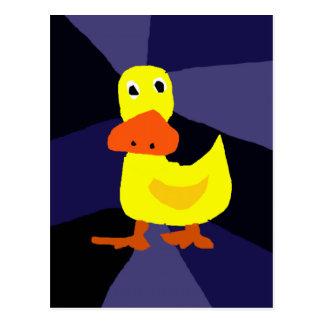 Funny Yellow Duck Art Postcard