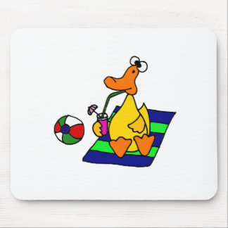 Funny Yellow Duck at the Beach Mouse Pad