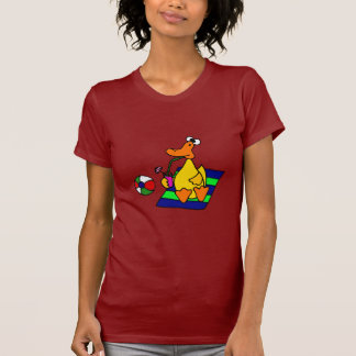 Funny Yellow Duck at the Beach T-shirts