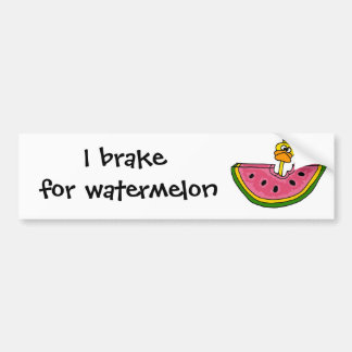 Funny Yellow Duck Eating Watermelon Bumper Sticker