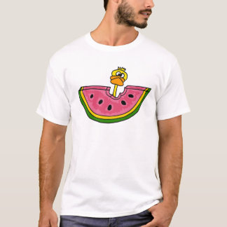 Funny Yellow Duck Eating Watermelon T-Shirt