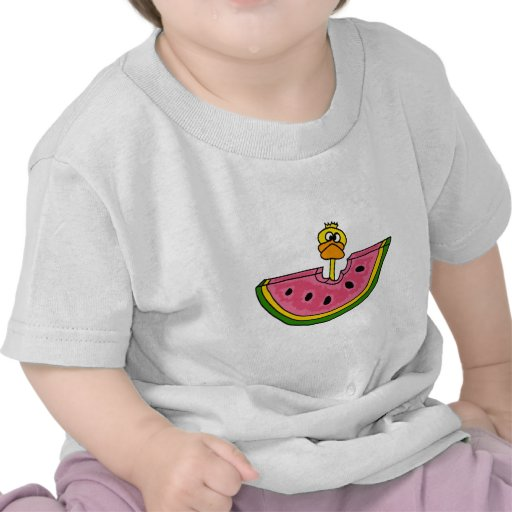 Funny Yellow Duck Eating Watermelon Tshirts