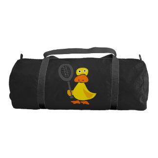 Funny Yellow Duck Holding Tennis Racquet Duffle Bag