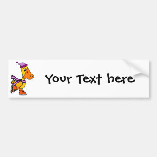 Funny Yellow Duck Ice Skating Cartoon Bumper Sticker