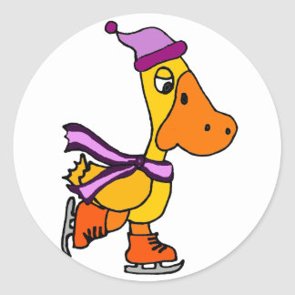 Funny Yellow Duck Ice Skating Cartoon Classic Round Sticker