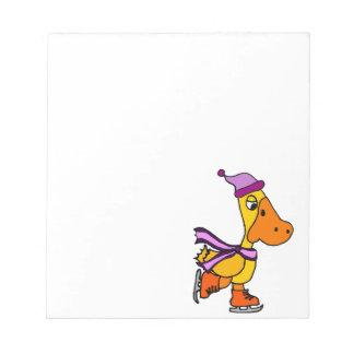 Funny Yellow Duck Ice Skating Cartoon Notepad