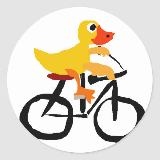 Funny Yellow Duck Riding Bicycle Classic Round Sticker