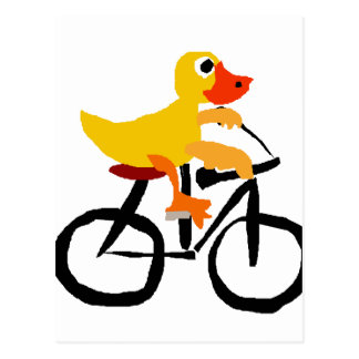 Funny Yellow Duck Riding Bicycle Postcard