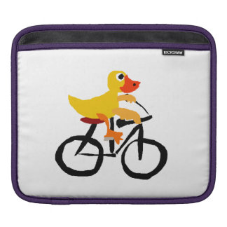 Funny Yellow Duck Riding Bicycle Sleeve For iPads