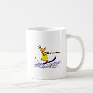 Funny Yellow Duck Water Skiing Coffee Mug