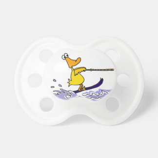 Funny Yellow Duck Water Skiing Pacifier
