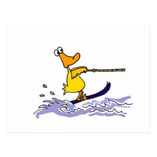 Funny Yellow Duck Water Skiing Postcard