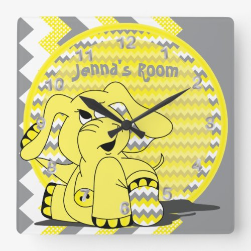Funny Yellow Elephant Kids Clock