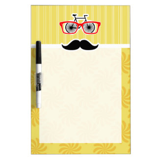 Funny Yellow Hipster Dry-Erase Whiteboard