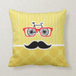 Funny Yellow Hipster Throw Pillows