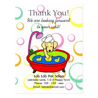 Funny Yellow Lab Cartoon Pet Salon Post Card