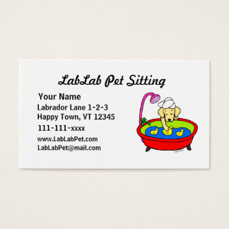 Funny Yellow Lab Cartoon Pet Sitting Business Card