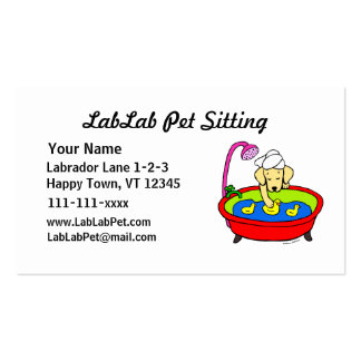 Funny Yellow Lab Cartoon Pet Sitting Double-Sided Standard Business Cards (Pack Of 100)