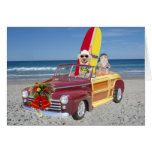 Funny Yellow Lab & Cat Surfer Christmas Greeting Cards