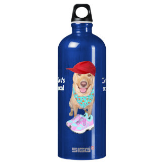 Funny Yellow Lab Personal Trainer Aluminum Water Bottle