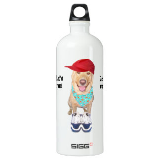 Funny Yellow Lab Personal Trainer Water Bottle
