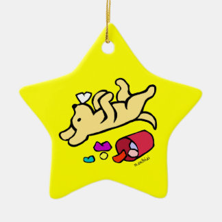 Funny Yellow Labrador Cartoon Double-Sided Star Ceramic Christmas Ornament