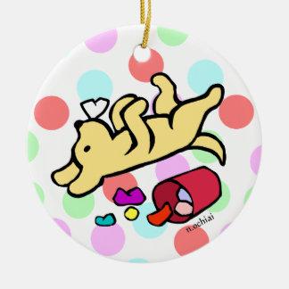 Funny Yellow Labrador Cartoon Polka Dot Ceramic Ornament