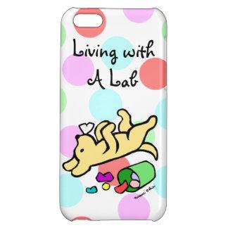 Funny Yellow Labrador Cartoon Polka Dot iPhone 5C Cover